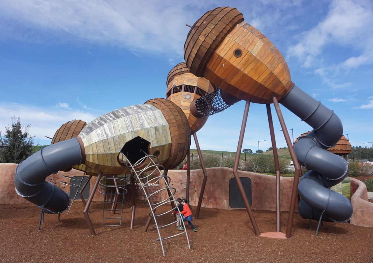 the play ground A playground, playpark, or play area is a place specifically designed to enable children to play there it is typically outdoors while a playground is usually designed for children, some target other age groups.